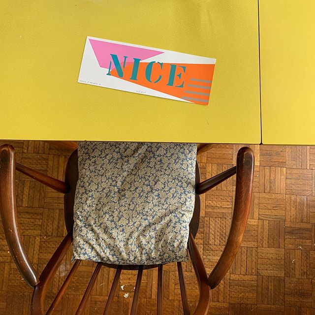 N I C E . . . One of @sophie.prints which I bought at @handmadewimborne at the weekend . . . Print @sophie.prints Chair @ercol_uk from @the_bhf Table @decadesofdesign